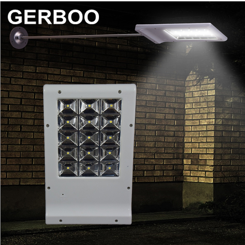 ФОТО GERBOO 2016 NEW 15 LED Solar Lamp Powered Panel LED Street Light Outdoor Path Wall Lamp Spot Light