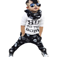 New 1Set Infant Toddler Baby Boys Letter Print T Shirt Tops Pants Outfits Clothes Wholesale