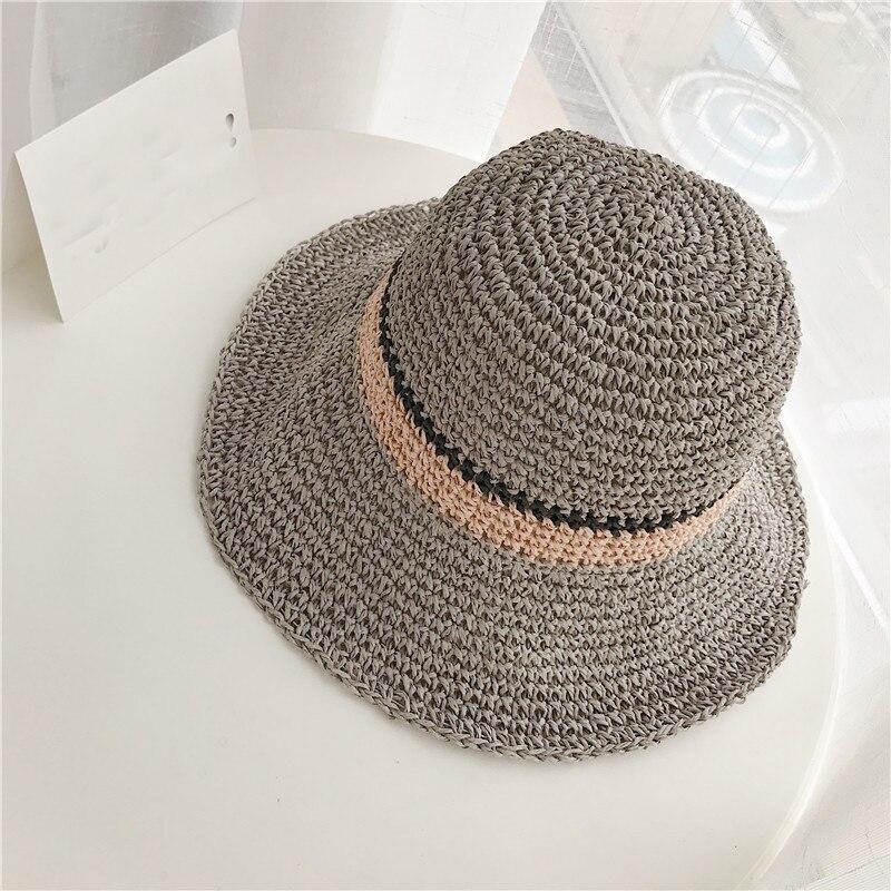 Femmes chapeau mode de style d'été plage chapeau de protection solaire De Paille chapeau à godet