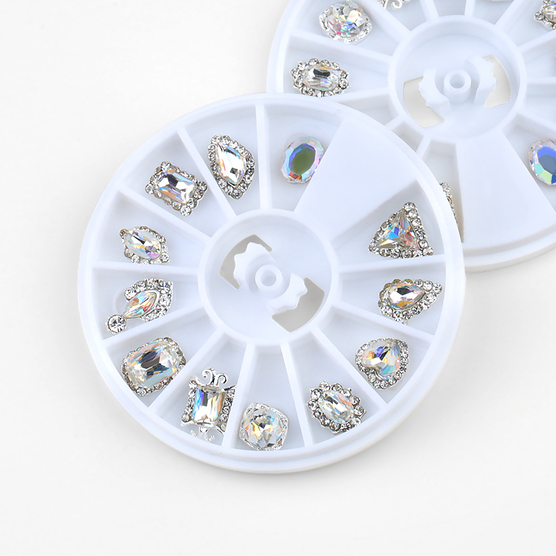 12 Pcs Box Mix Style Design Strass Crystal AB 3D Glass Nail Rhinestones For Metal Base DIY Different Stones Nail Art Decoration in Rhinestones Decorations from Beauty Health