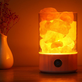 LED Night Light Natural Himalayan Crystal Salt Lamp Dimmable Touch Switch Release Anions Purified Air Home Decor Holiday Gift