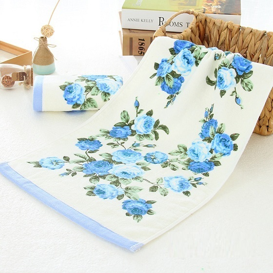 Hot Sale 34*74cm Mi Fa La Pink Blue Flower Terry Towels Cotton Face Hand Towel Bathroom Peony Floral Face Washcloth Toalla MFL15 pink floral towels