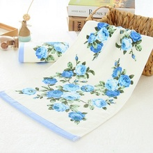 Hot Sale 34*74cm Pink Blue Flower Terry Towels Cotton Face Hand Towel  Bathroom Peony