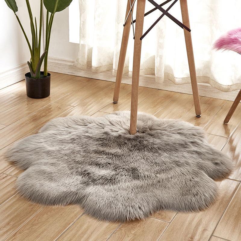 90 cm grand tapis de sol en fausse fourrure tapis de luxe en forme de fleur tapis rond en peluche pour salon enfants photographie tapis de décoration de maison