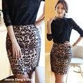 Primavera verano moda lista oficial de leopardo cuero de la PU Patchwork cintura alta falda del lápiz para mujeres, estilo femenino de corea Saia