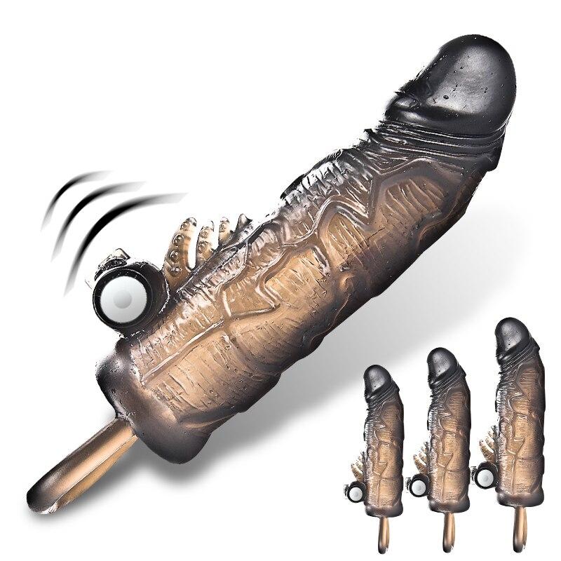 Male Penis Extender Enlargement Reusable Condoms For Men Adult Intimate