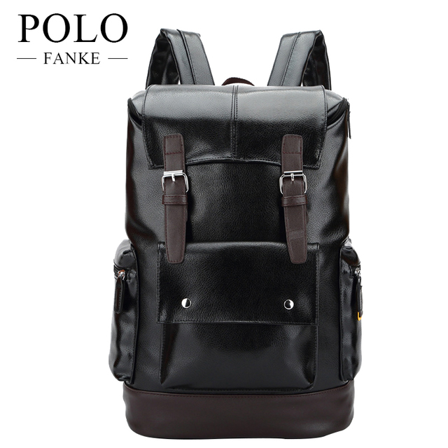 52987624e455 FANKE POLO Casual Backpack Men PU Leather School Backpacks For Teenagers  Black Fashion 15 Laptop Travel
