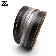 ZG New Gold Leather Wrap Bracelets For Women Sliver Color Multiple Layers Charm Bracelet & Bangle Party Fashion Jewelry