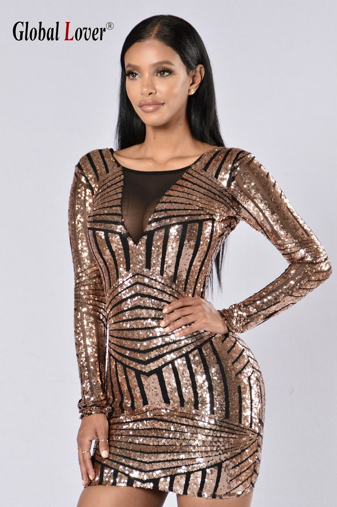 Compare Prices on Gold Plus Size Long Sleeve Sequin Dress- Online ...