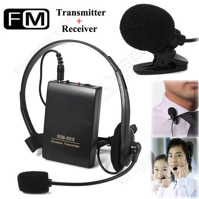Free shipping!Wireless FM Transmitter Receiver Lapel Clip Headset Mini Microphone Mic System