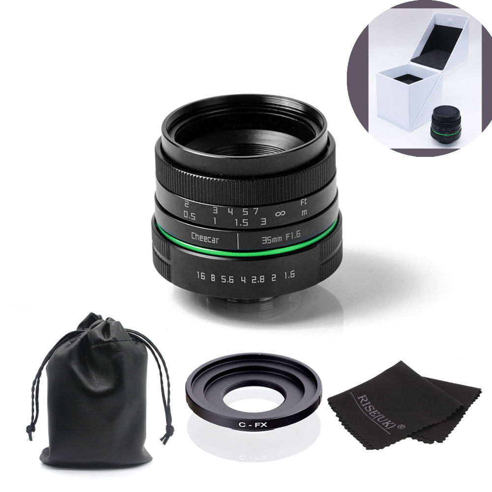 New green circle 35mm APS-C CCTV camera lens For Fujifilm X-E1,X-Pro1 with C-FX adapter ring +bag +gift +big box free shipping new green circle 25mm cctv camera lens for for olympus with c m4 3 adapter ring bag gift big boxfree shipping