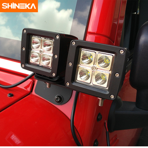 Image 4 - Shineka車ユニバーサルledワークライト柱フード取付ブラケット用ジープラングラーjk 2007 2017 外装部品