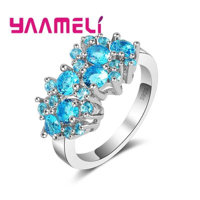 Joyería geométrica de moda para mujer anillo de Plata de Ley 925 con circonita cúbica transparente azul agua para dama joyería de fiesta