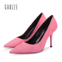GAOZZE Suede Leather Women Shoes Pointed Toe Pumps Fashion Sexy Stiletto High Heels Women Classic Office Pumps Shoes 2018 Spring