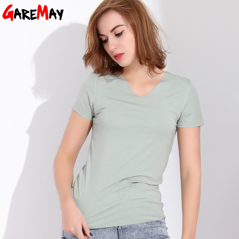 b049908b5b5 GAREMAY Fashion V Neck T Shirt Women Slim T-Shirts Womens Tops And T Shirts  Short Sleeve Top Femme 2018 Summer Casual Clothing