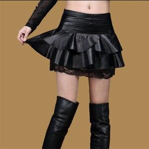 Image 3 - Senhora oversized outono alta cintura saia de couro do plutônio rendas splice mini uma linha saias mulher plus size saia preta feminino saia de inverno