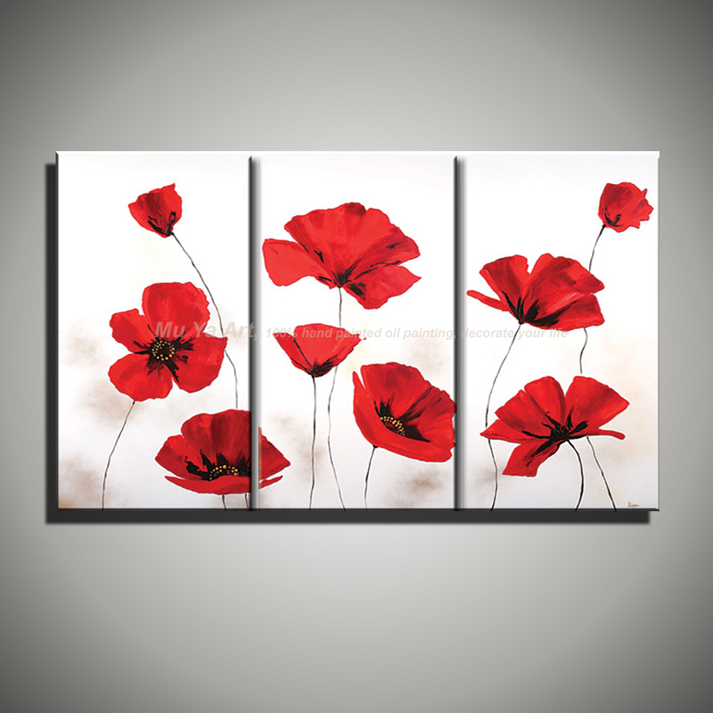 3 Panel Wall Art Abstract Unframed Poppy Handmade Red Flower Acrylic