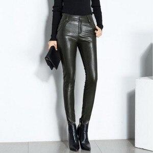Image 2 - Novas mulheres sexy de alta qualidade couro do plutônio calças magras biker velo forro cintura alta senhora do escritório calças lápis de couro longo