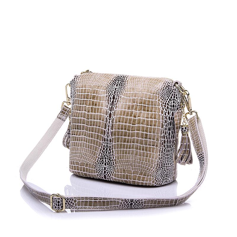 bags brand Genuine Leather Bags Women Handbag with Crocodile Pattern Leather Tote Bag Small Tassel Shoulder Messenger Bags