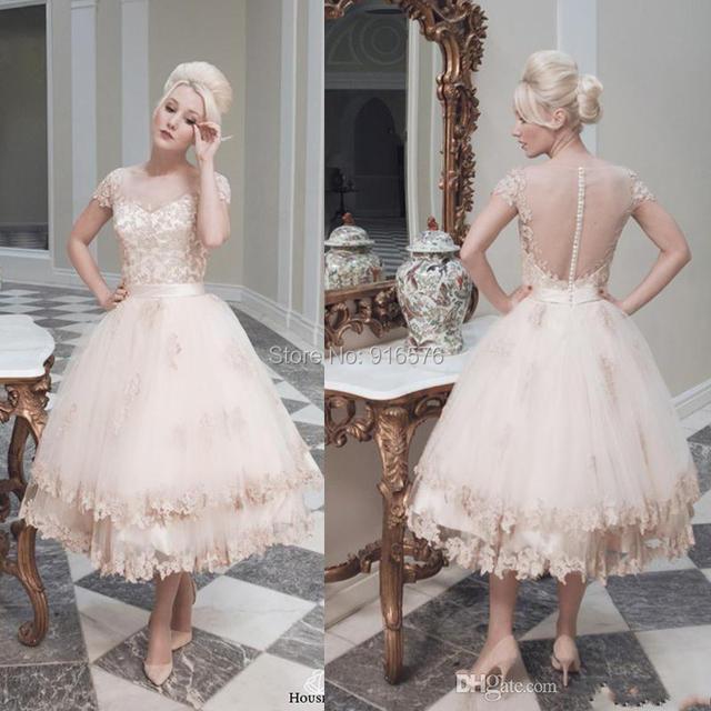 Bateau Tea Length Wedding Dress