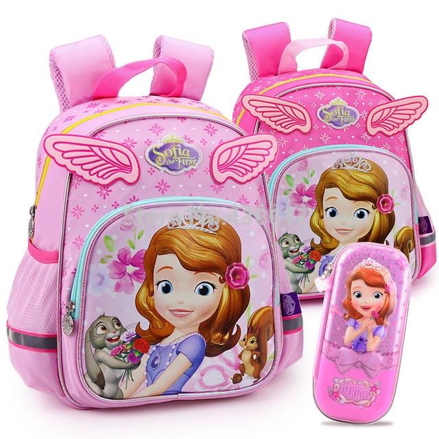 d6f29fae91 Cute Kawaii Sofia the First Princess Sofia Backpack School Bags Pencil Case  for Girls Kids Kindergarten Preschool Children Bag