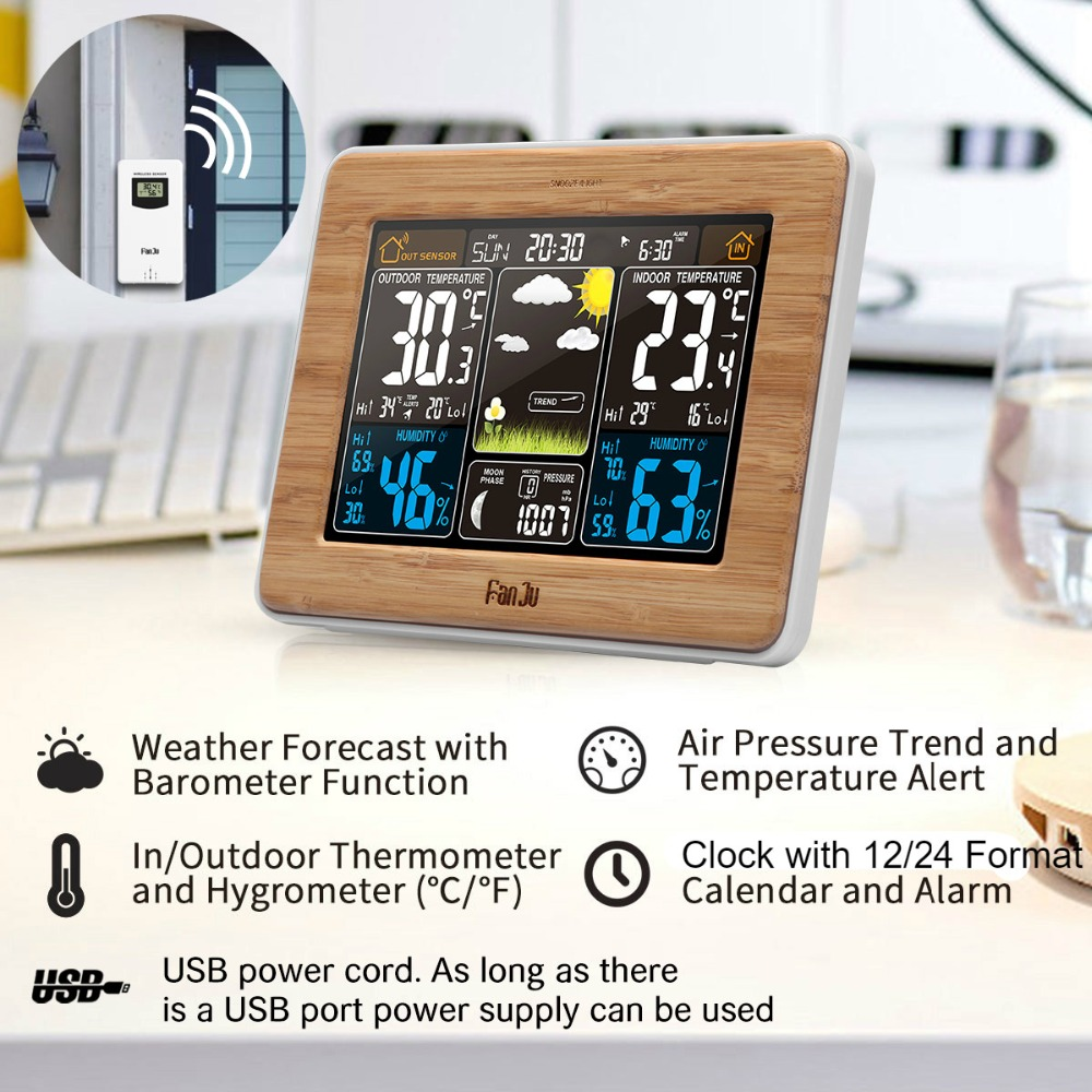FanJu LCD Digital Weather Station Alarm Clock Electronic Thermometer Hygrometer Wireless Sensor Barometer Home Decoration FJ3365 in Temperature Instruments from Tools