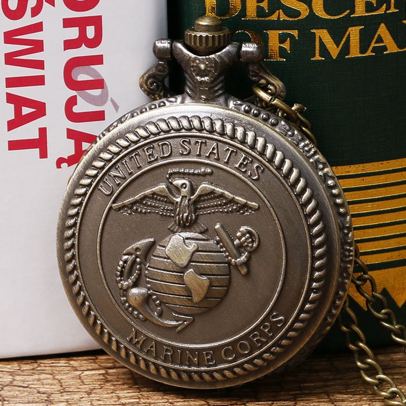 Retro United States Marine Corps Theme 3D Bronze Quartz Pocket Watch With Necklace Chain Gift For Men Women Boys