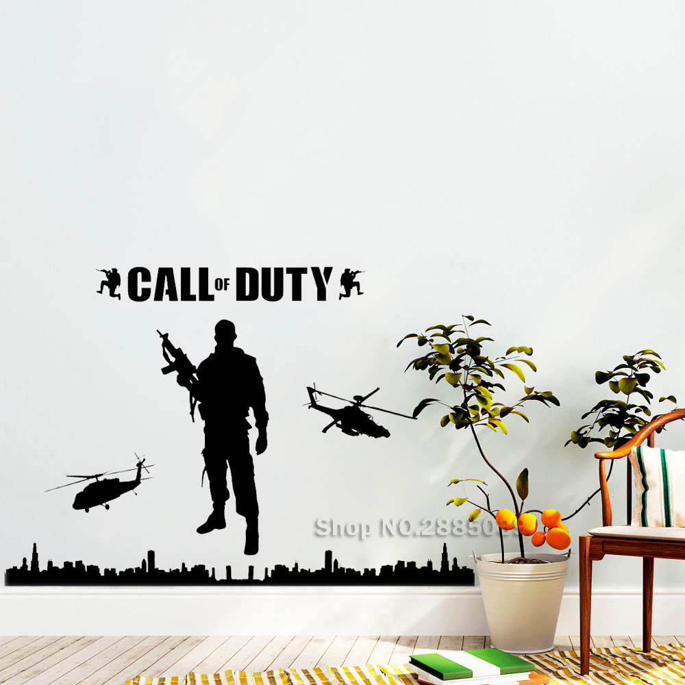 Call Of Duty Style Army Wall Stickers Military Soldier Mural Decor Stencils For Teenboys Bedroom 3D Vinyl Poster Removable LC553