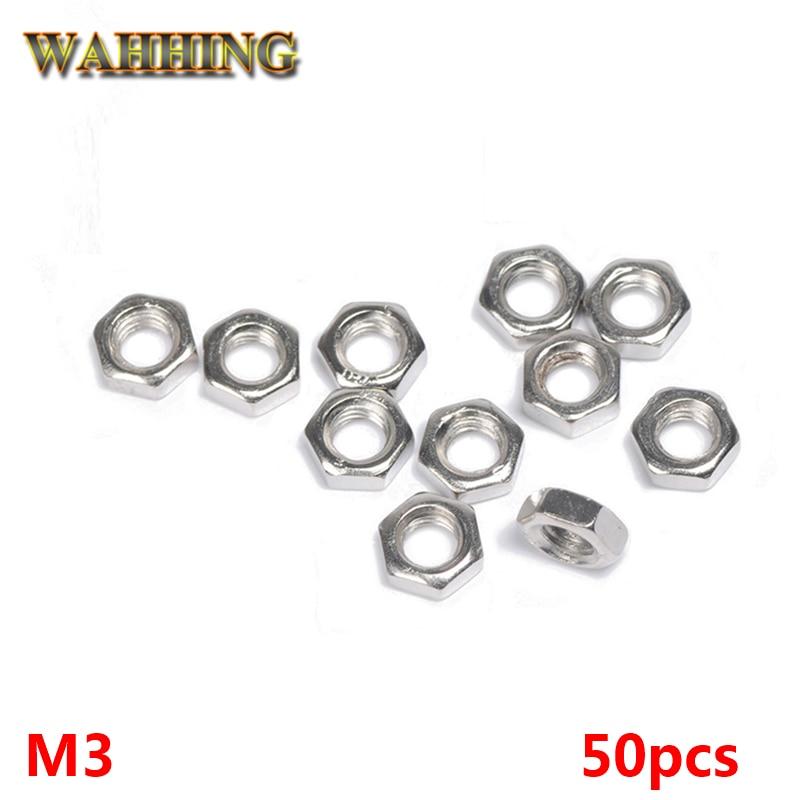 50pcs New M3 Nut Hex Nut Stainless Steel Screws Thread Nut Hex Nutsert Hexagon Nuts Metric Thread Screw Silvery HY398 thread 304 stainless steel square nut fastener nut screw m4 m5 m6 m8 m10