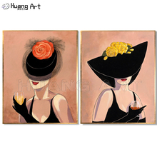 Hand-painted oil Painting A Sexy Woman Wearing a Beautiful Hat elegant women hold a piece red rose flower oil painting katharine tynan a red red rose