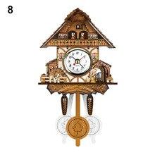 Antique Wooden Cuckoo Wall Clock Bird Time Bell Swing Alarm Watch Home Art Decor TB Sale