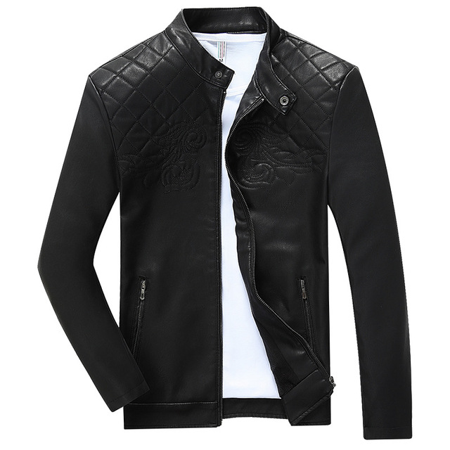 2017 Spring New Fashion Stand Collar Motorcycle Jacket Good Quality Slim Fit Jaqueta De Couro