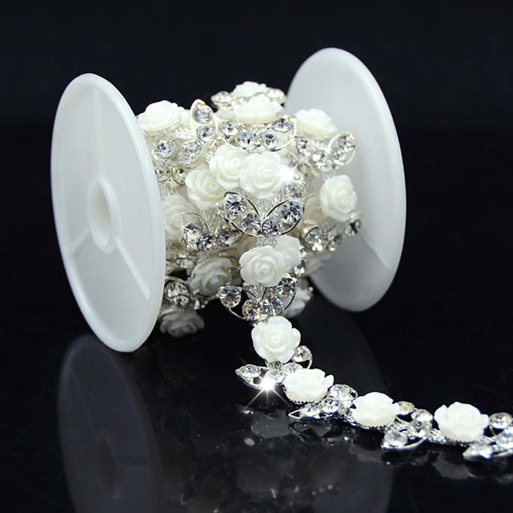 1yd een rang strass zilveren rand witte bloem trim naai bruids kostuum trouwjurk levert hete verkopen