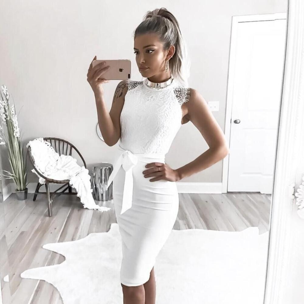 High Neck Knee Length White Homecoming Dresses With Sash Fashion Lady Cocktail Party Dress Gown In Stock
