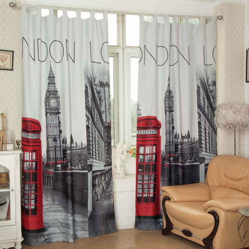 140x260cm 3d window curtains for living room linen material European london cortina para quarto blackout for bedroom living room