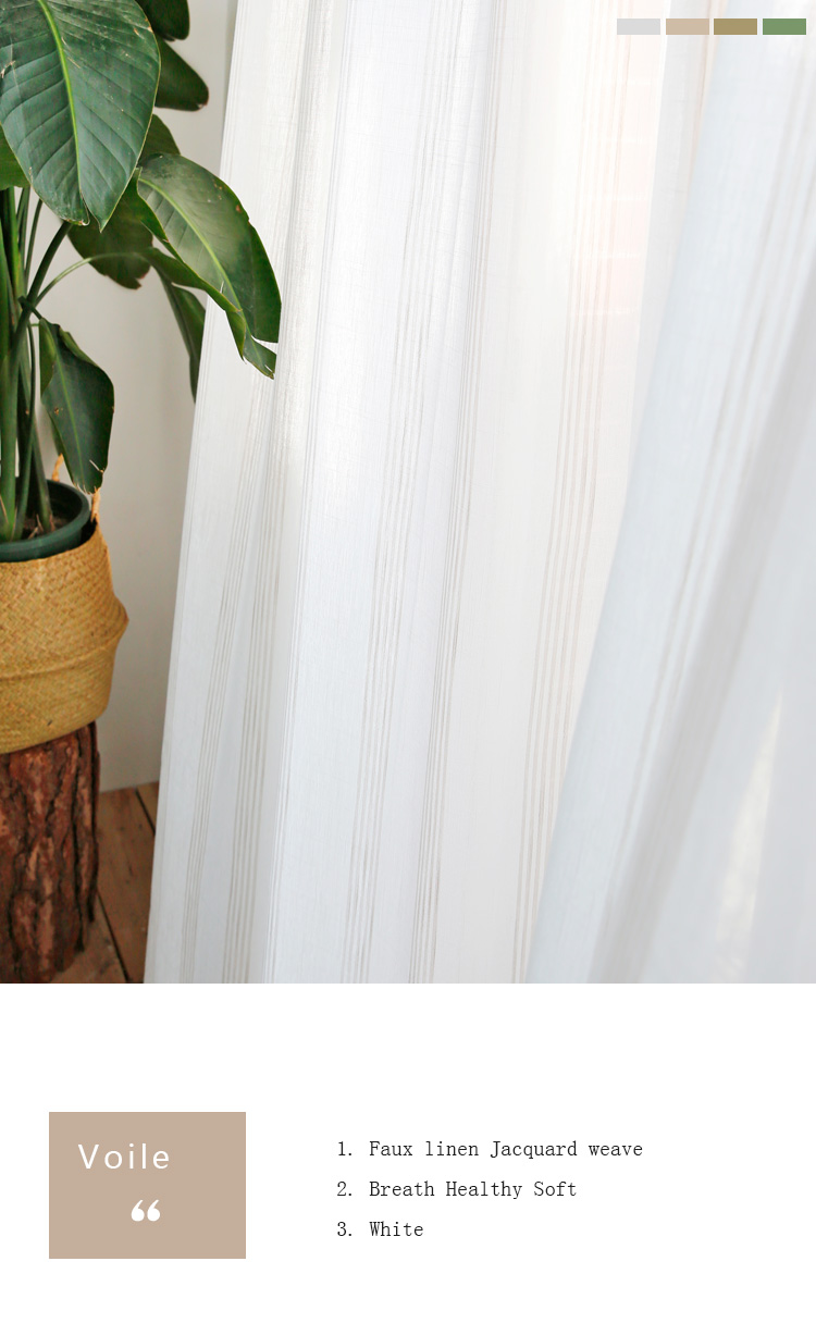 _01 White Tulle Curtains For Livingroom Striped Voile