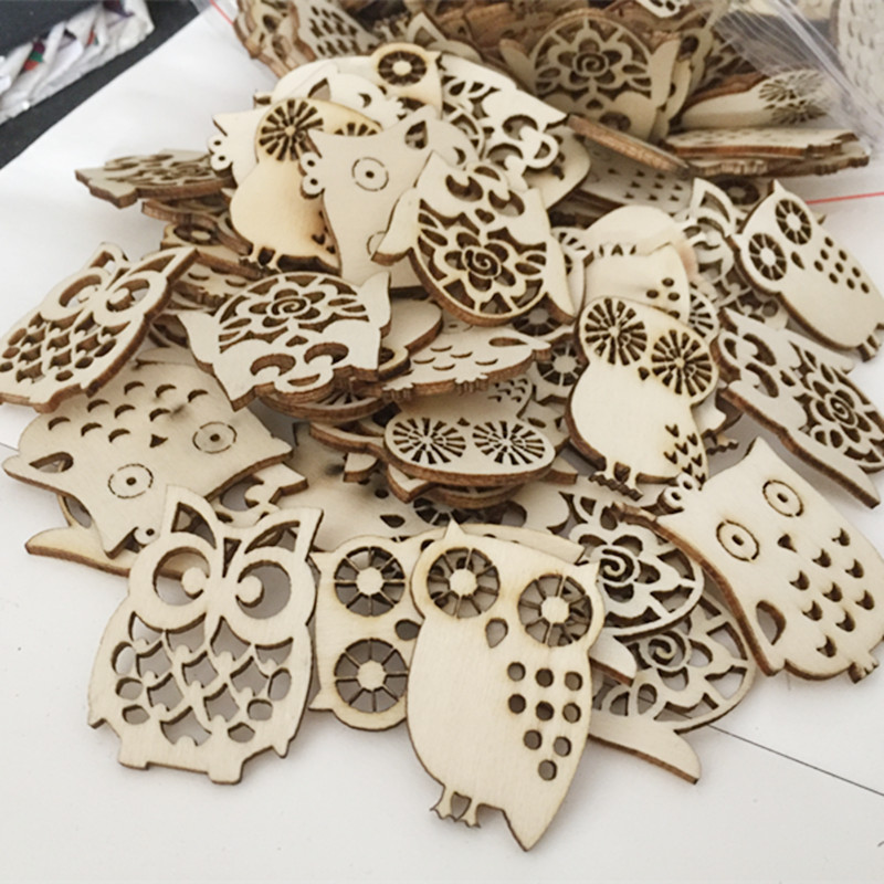 10 Pcs Cartoon Owl Wooden Scrapbooking Craft For Embellishments Handmade Diy Handicraft Home Decoration Accessories