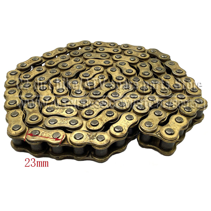 428 104 LINKS GOLD DRIVE CHAIN FOR PIT PRO DIRT BIKE ATV QUAD 125cc 140cc 150cc Chinese 428 136 motorcycle drive chain atv parts unibear 428 gold o ring chain 136 links for suzuki drz125 motocross dirt bike
