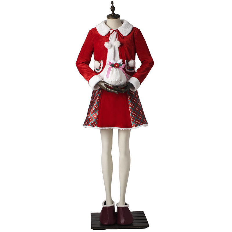 Christmas Santa Claus Cosplay Costume Santa Girls Bear Costume Dress Christmas Clothing Red Sexy Lovely Holiday Outfit Full Set