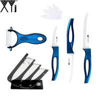 Ceramic Knives Blue Hollow Handle White Blade 3 4 5 Inch Knife Set Peeler Knife Stand