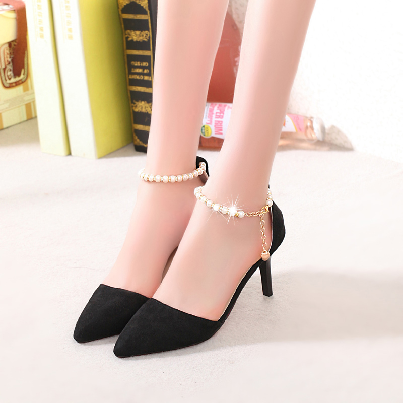 56bc65708ac9 Wild Black And Red Summer Wedding Party Shoes Sexy Thin Middle Heels  Without Platform Ankle Strap Chain Women Shoes Pumps-in Women s Pumps from Shoes  on ...