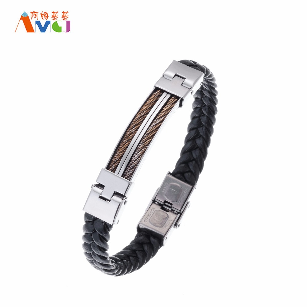 Do Old Style Stainless Steel Double Wire Leather Bangle