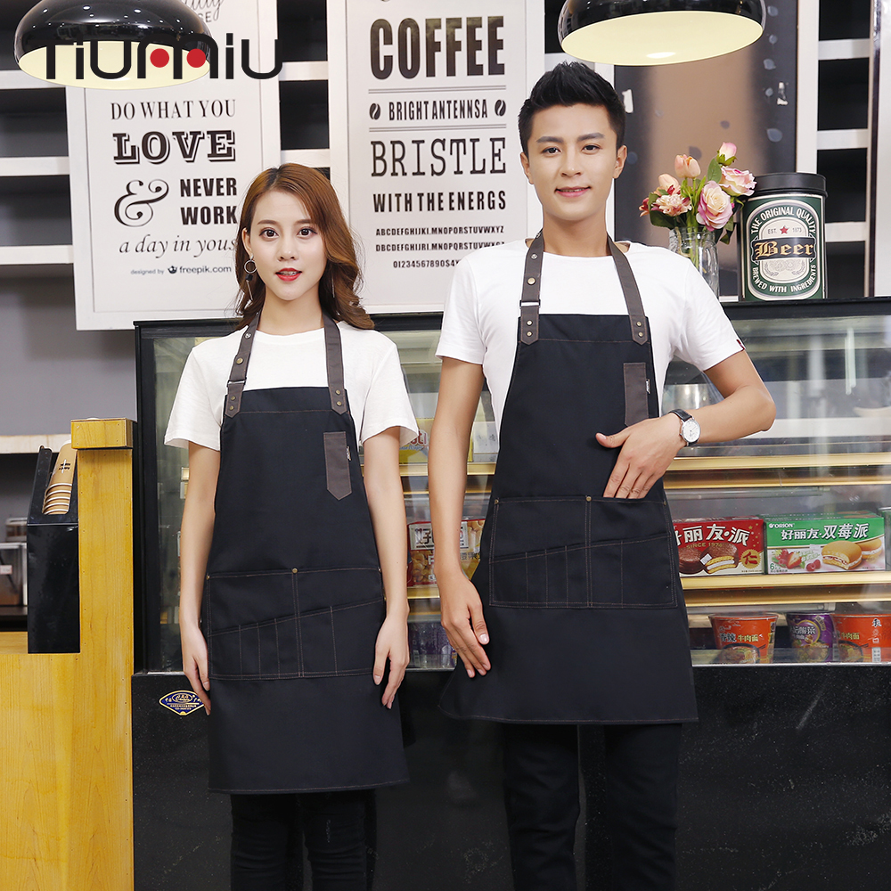 High Quality Patchwork Chef Aprons Straped Halter Neck Long Apron Restaurant Hotel Kitchen Chef Workwear Cafe Food Service Apron