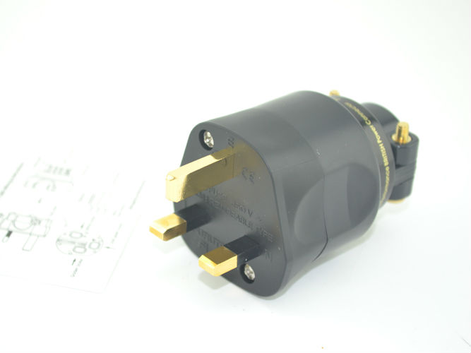 free shipping one pieces Furutech FI-UK 1363 (G) Gold Mains plug audio UK power plug разъемы и переходники furutech gs 21 p g
