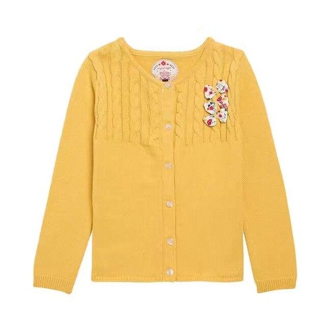 2-7 Лет девочка с длинным рукавом хлопка kintted кардиган женский детский желтый маленький лук свитер пальто детей весна пиджаки A0063