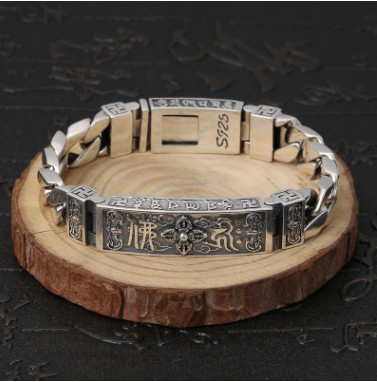 Bracelet bouddha personnalisé poignet bande hommes argent 925 bracelet 12mm