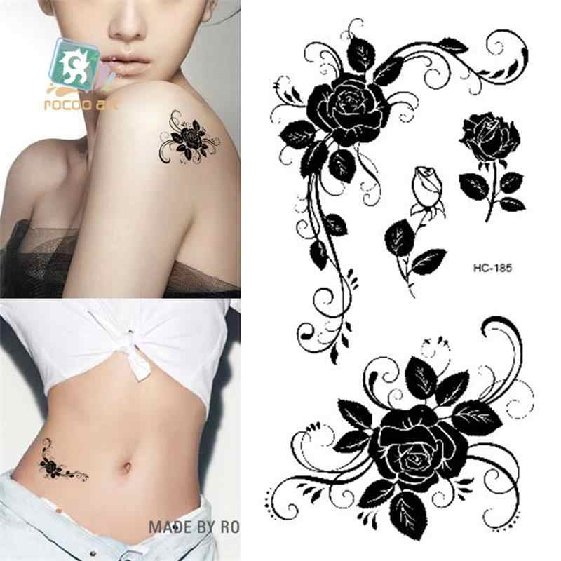 Beautiful Body Art waterproof temporary tattoos for women sexy black rose design small tattoo sticker Wholesale HC1185
