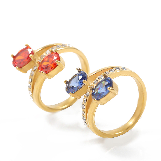 TL Blue&Red Big Zircon Double Ring Gold Color Stainless Steel Wedding Rings for Women Filled Austrian Crystals Middle Ring