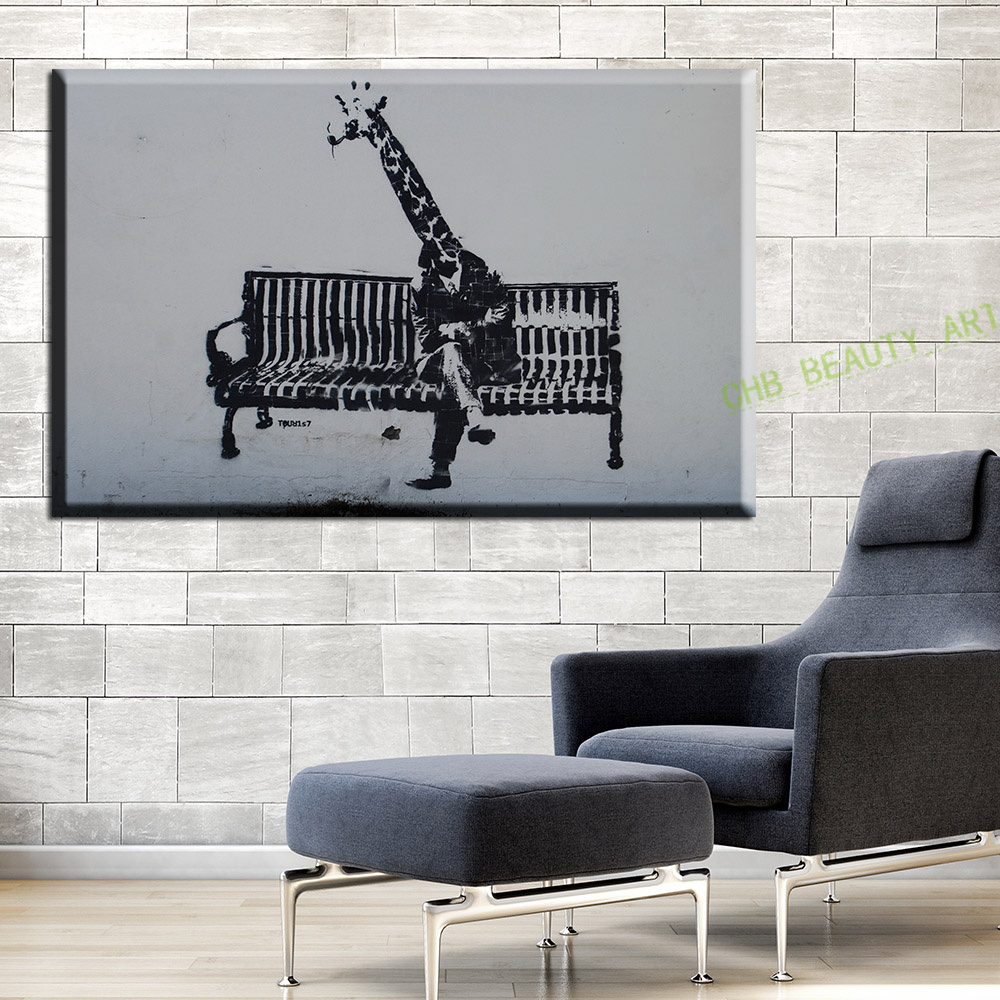 Graffiti BANKSY Giraffe Street Art Decorative Pictures Wall For Living Room Canvas Painting