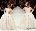 Длинные прозрачные пышными рукавами кружева святой в первое причастие бальные платья детские свадебное платье дни рождения платья
